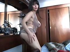 Sexy brunette on camera