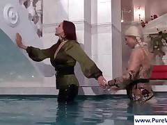 Hottie Lesbians Licking Their Wet Bodies In Pool