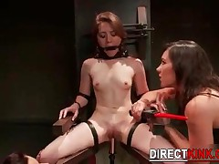 These Nasty Lesbians Are Doing Bdsm Treatment To This Hot Chick By Drilling Her Tight Pussy With Met