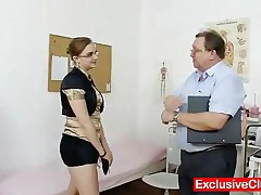Chubby Amateur Wears Glasses, Got Nice Natural Tits And Wet Pussy Old Gyno Doctor Will Use Pussy Pum