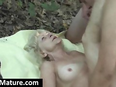 Lovely Granny Gets Fucked And Facialized Outdoors