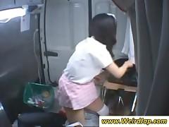 Asian waitress gets slit toyed