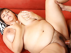 BBW Gets Lucky And Enjoys A Good Hard Cock In Her Fat Pussy
