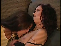 Lesbo Threesome Turns To Strapon Orgy