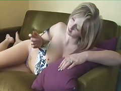 Sexy girl humping and fingering to orgasm