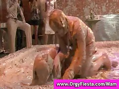Wam babes have wet and messy mud wrestling fight