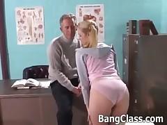 Teacher fucks a school girl on his desk