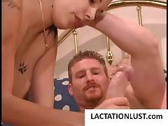 Lactating whore sucking a thick phallus