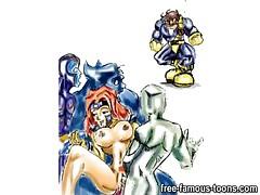 Famous cartoon superheroes orgy