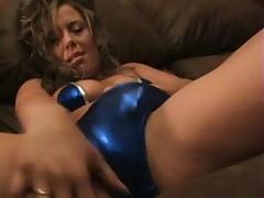 shiny taylor blue bikini rubbing pussy to orgasm