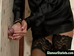 Posh clothed bitch gets a cumshot