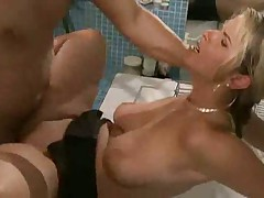 Busty german blonde fucked in bathroom