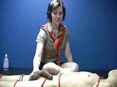 Girl scout jerks off a naked boy and makes him cum