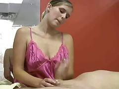 Masseuse continuously jerks off her naked client