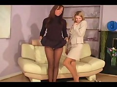 Two hot lesbians in pantyhose