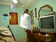 Teen caught changing after shower again