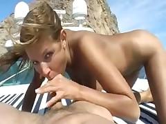 Skinny slut fucking outdoors