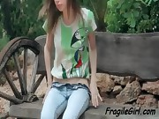 Teen minx show skinny pussy outdoors