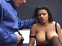 Fucking in black ripped up crotchless pantyhose