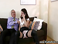 Young brunette fucked from behind by old man