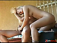 Sexy blonde housewife showing love