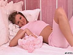 Slim teen in pink solo masturbation