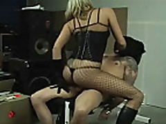 domina in boots makes slave cum