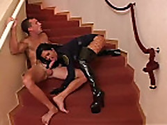 babe in boots and gloves fucked on stairs with cumshot on bo...