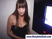 Gloryhole stockings bitch gets dirty