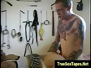 tattooed amateur couple play bdsm games with electro prod