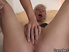 Old blonde is doggy-style fucked