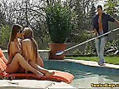 Two bikini babes fucks a pool guy and eats cum
