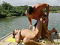 Bikini babe fucked and eats cum