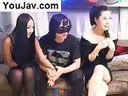 Lucky Chinese Guy fucking 2 Japanese/Korean girls in Black