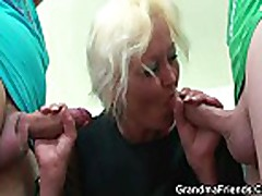 Two dudes bang nasty old teacher
